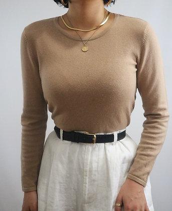 Vintage Noir Leather + Gold Buckle Belt
