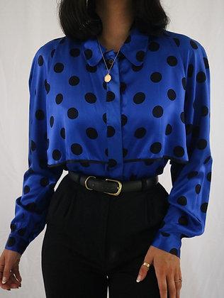 Vintage Saks Fifth Avenue Noir + Sapphire Silk Blouse