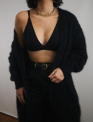 Vintage Noir Angora Beaded Cardigan