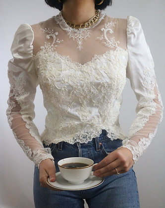 Vintage 1970's Puff Sleeve Lace Blouse