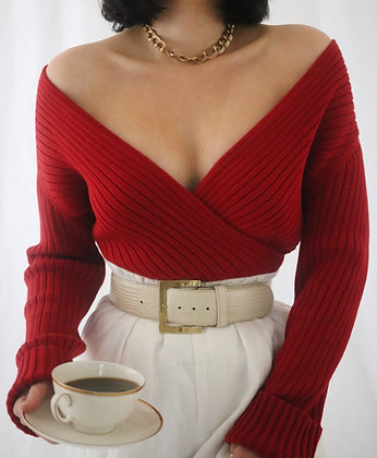 Vintage Cherry Ribbed Cotton Wrap Sweater