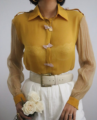 Vintage Marigold Silk Blouse