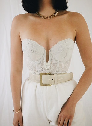 Vintage Ivory Lace Plunging Bustier