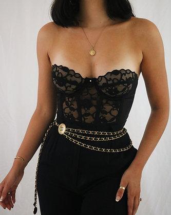 Vintage Noir Lace 80's Victoria's Secret Bustier (34B)