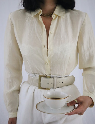 Vintage Buttercream Silk Blouse