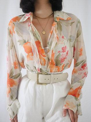 Vintage Floral Watercolor Silk Blouse