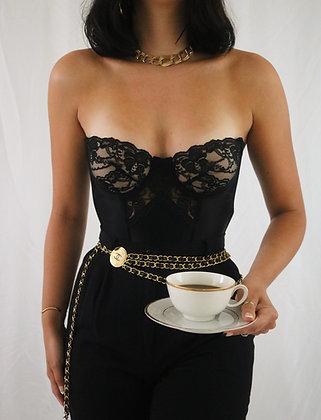 Vintage 80's Victoria's Secret Noir Lace Bustier (34B)