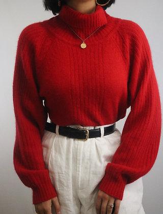 Vintage Cherry Oscar De La Renta Turtleneck Sweater