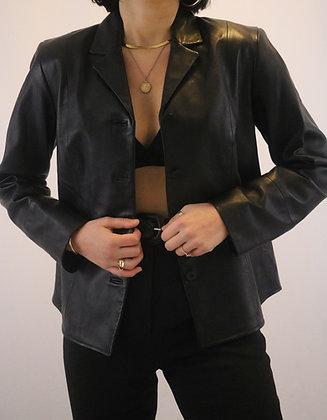 Vintage Noir Leather Blazer