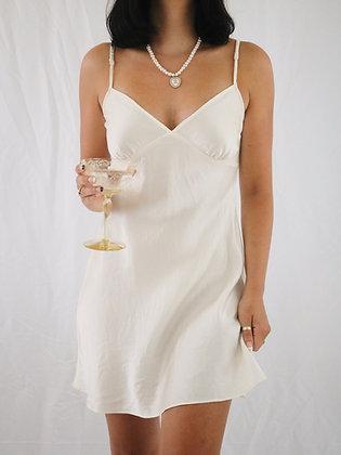 Vintage Ivory Silk Slip Dress (S)