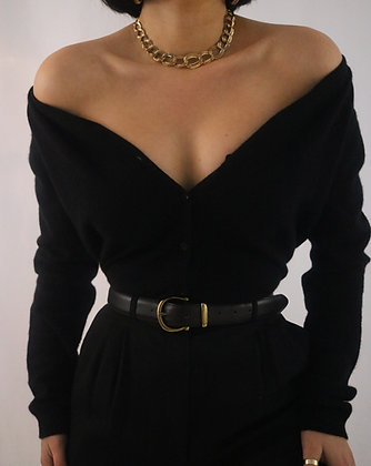 Vintage Noir Cashmere Cardigan