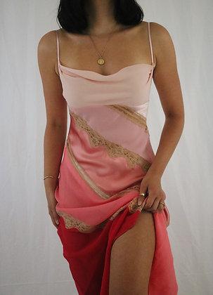 Vintage Petal Pink Silk Slip Dress (S)