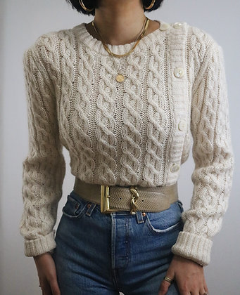 Vintage Ivory Silk Cable Knit Sweater
