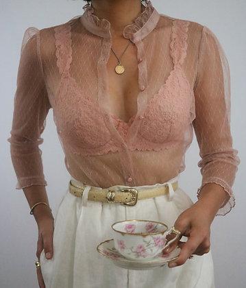 Vintage Blush Sheer Puff Sleeve Blouse