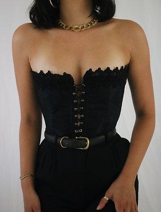 Vintage Noir Satin + Lace Corset (S)