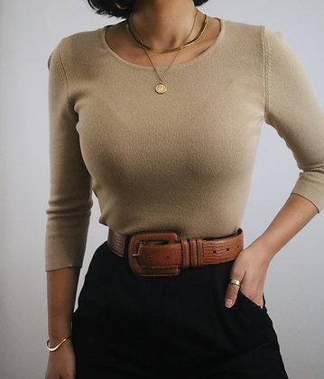 Vintage Camel Silk Knit Sweater