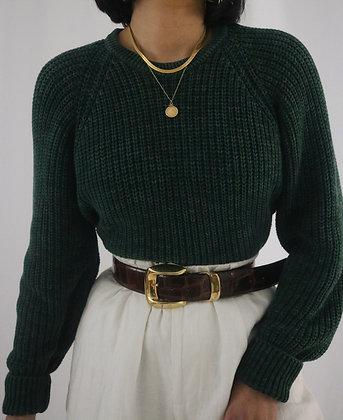 Vintage Emerald Cotton Sweater