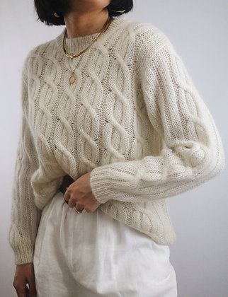 Vintage Ivory Mohair Relaxed Sweater