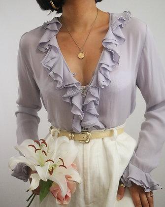 Vintage Lilac Silk Blouse