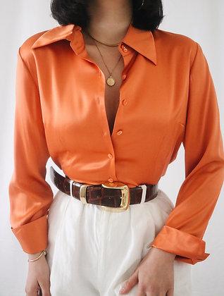 Vintage Tangerine Silk Blouse