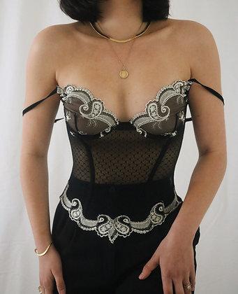 Victoria's Secret Noir Embroidered Lace Bustier