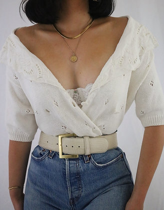 Vintage Milk Cotton Double Breasted Cardigan