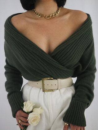 Vintage Sage Angora + Wool Sweater