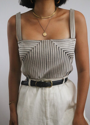 Vintage Slate Silk Textured Top