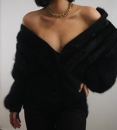 Vintage Noir Angora Cardigan Sweater