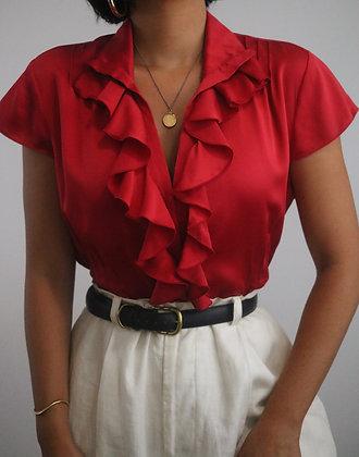 Vintage Cherry Silk Blouse