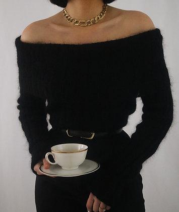 Vintage Noir Mohair Off The Shoulder Sweater