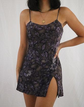 Vintage Smoky Lavender Floral Silk Slip Dress (S)