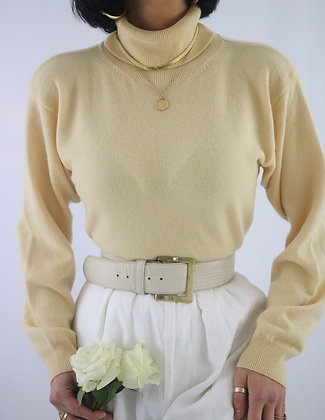 Vintage Buttercream Cashmere Sweater