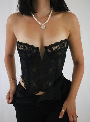 Vintage 80's Noir Victoria's Secret Bustier (36B/34C)