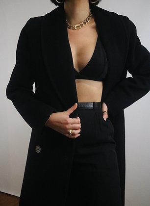 Vintage 1970's Noir Wool Double Breasted Coat