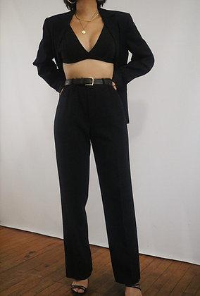 Vintage Noir Wool Trousers 26in-28in Waist