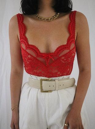 Vintage Scarlet Lace Bodysuit