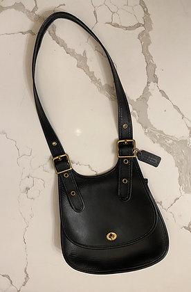 Vintage Noir 1970's Coach Crescent Saddle Bag