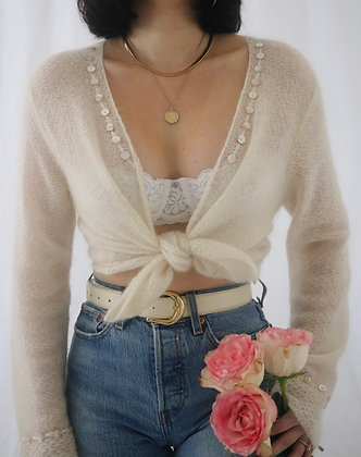 Vintage Ivory Mohair Knit Sweater