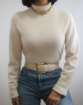 Vintage Cream Cashmere Turtleneck Sweater