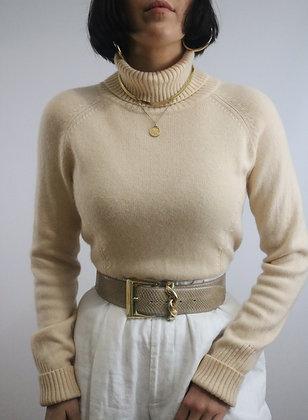 Vintage Buttercream Cashmere Turtleneck Sweater