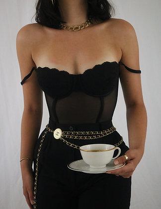 Vintage Noir 90's Lace Victoria's Secret Lace Bustier (34C)