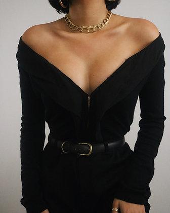 Vintage Noir Silk + Cashmere Cardigan