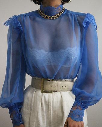 Vintage Cobalt Sheer Lace Blouse