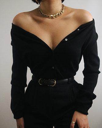 Vintage Noir Silk Cardigan