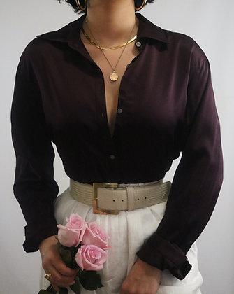 Vintage Ralph Lauren Merlot Silk Blouse