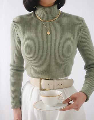 Vintage Sage Merino Wool Turtleneck Sweater