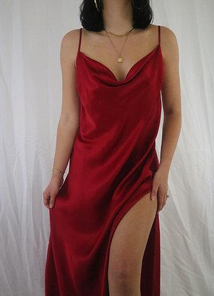 Vintage Crimson Silk Slip Dress