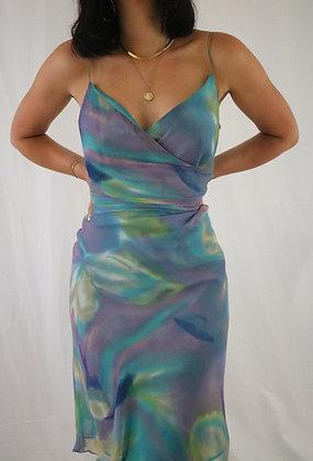 Vintage Silk Pastel Dream Watercolor Dress (M)