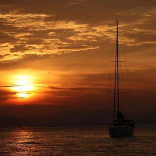 Sunset over the water off Phuket, Thailand #mooringsphuket